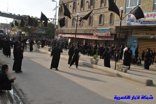 رسالة عاشوراء:احياء المواكب الحسينية لذكرى واقعة الطف في مدينة الطف - تقرير مصور- Nasiriyah002