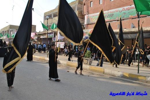 رسالة عاشوراء:احياء المواكب الحسينية لذكرى واقعة الطف في مدينة الطف - تقرير مصور- Nasiriyah013
