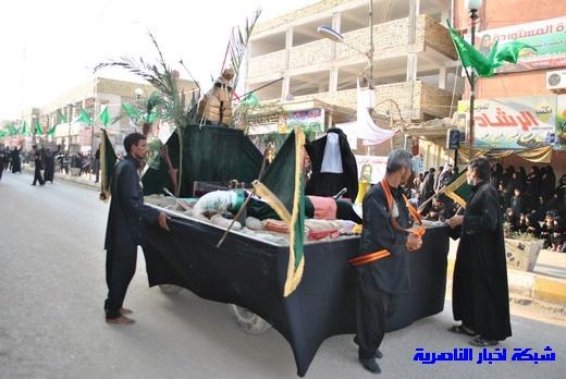 رسالة عاشوراء:احياء المواكب الحسينية لذكرى واقعة الطف في مدينة الطف - تقرير مصور- Nasiriyah014