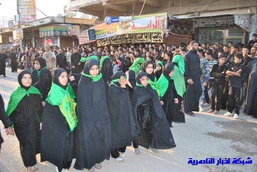 رسالة عاشوراء:احياء المواكب الحسينية لذكرى واقعة الطف في مدينة الطف - تقرير مصور- Nasiriyah041