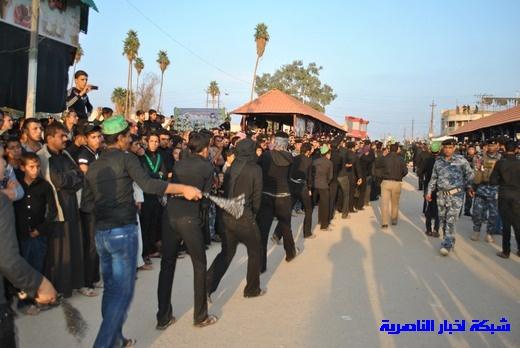 رسالة عاشوراء:احياء المواكب الحسينية لذكرى واقعة الطف في مدينة الطف - تقرير مصور- Nasiriyah042